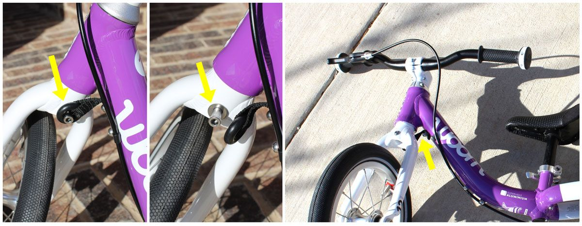 Turning limiter on woom 1 balance bike engaged and removed. Allows handlebars to lay flat in the event of a crash.