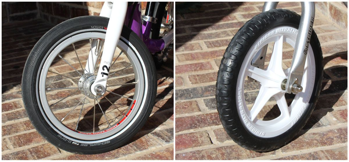 woom 1 air tire with aluminum rims, and Strider wheel with foam tire and plastic rims