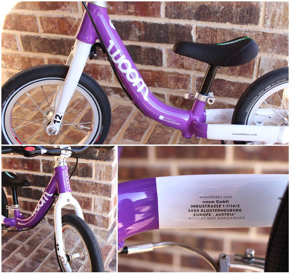 gorgeously painted frame and fork of woom 1 balance bike in purple