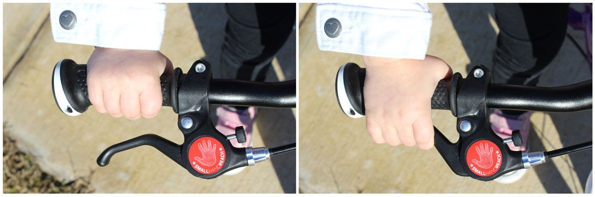 short reach hand brake lever on woom 1 balance bike being engaged by 2 year old