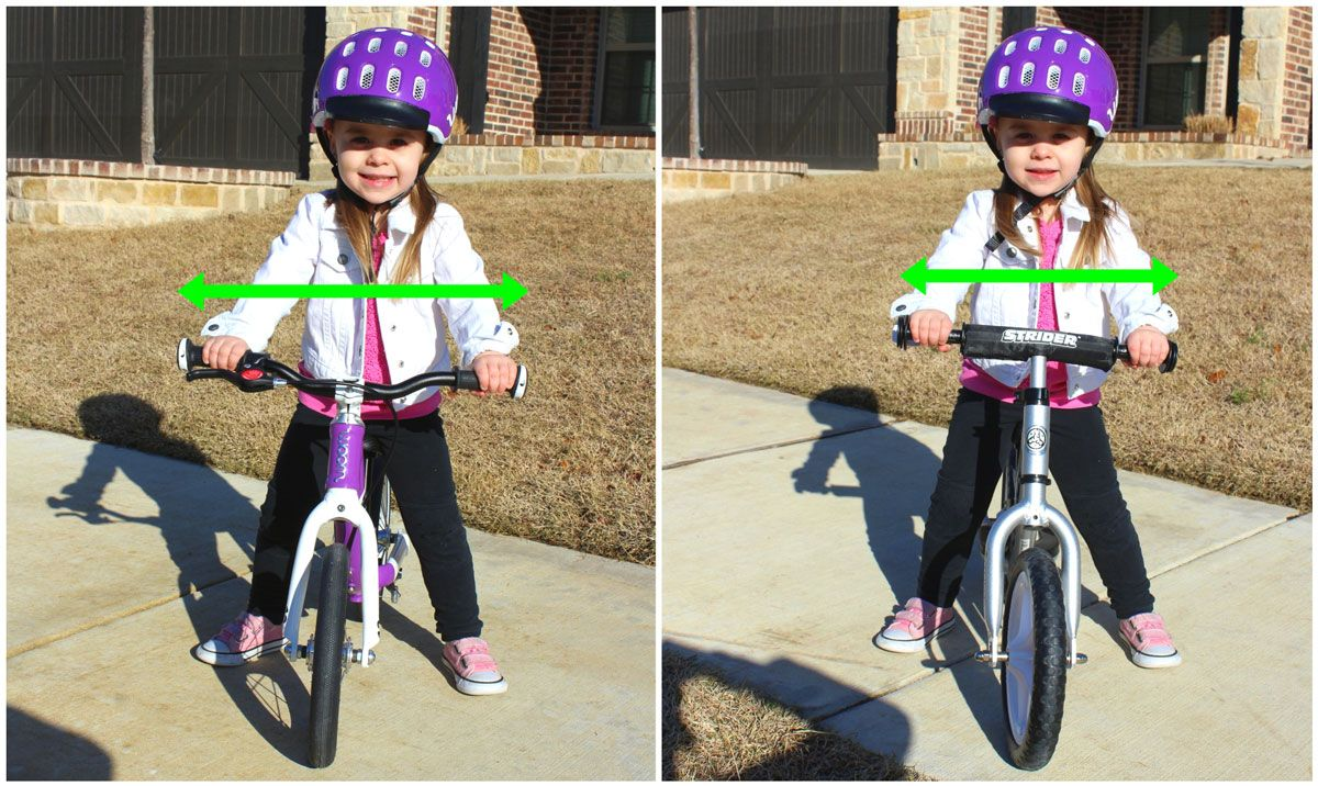 Toddler on woom 1 and Strider. The handlebars on the woom 1 are wider than on the Strider.