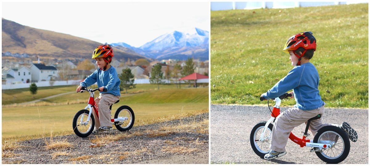 child riding woom 1 balance bike on gravel and on packed dirt road