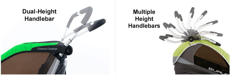 Side by side comparison of trailer with just two handlebar height setting and one with a continuously adjustable handlebar
