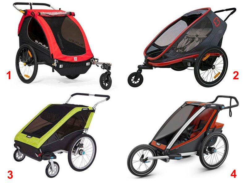 Examples of four different types of stroller wheel attachments on bike trailers