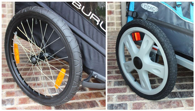 20 inch wheel on metal rims vs 16 inch wheel on plastic rim on bike trailer