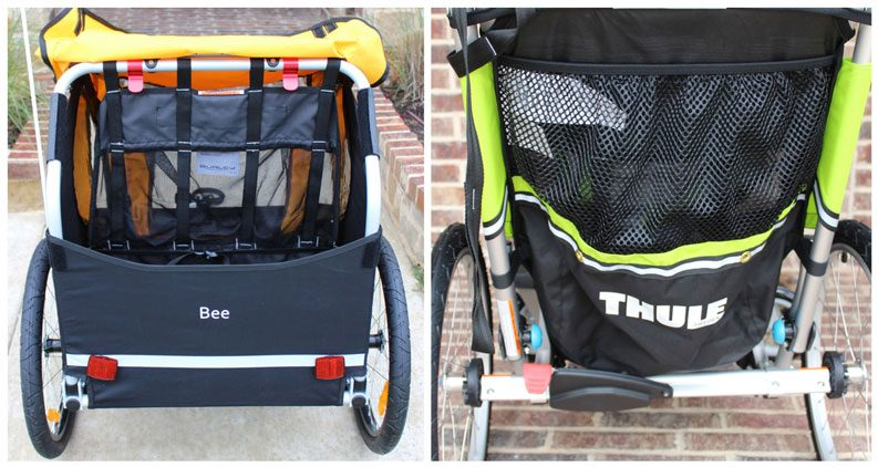 Side by side comparison of large storage compartment in the rear of the Burley Bee vs the narrow profile mesh pocket on the back of the Thule Chariot Cheetah XT
