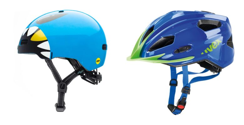 side by side comparison of the shape of two kids bicycle helmets, a round nutcase and a more traditional shaped uvex