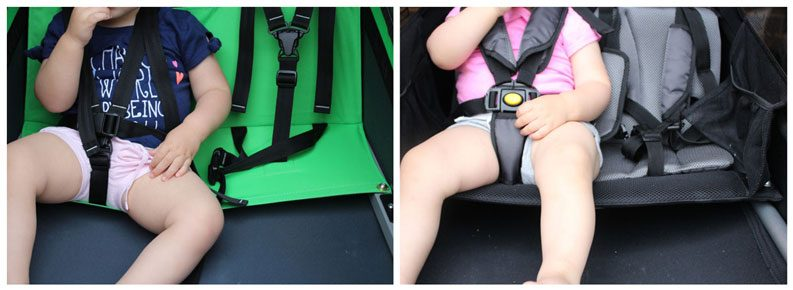 Side by side comparison of hammock seat and bench seat in child bike trailer