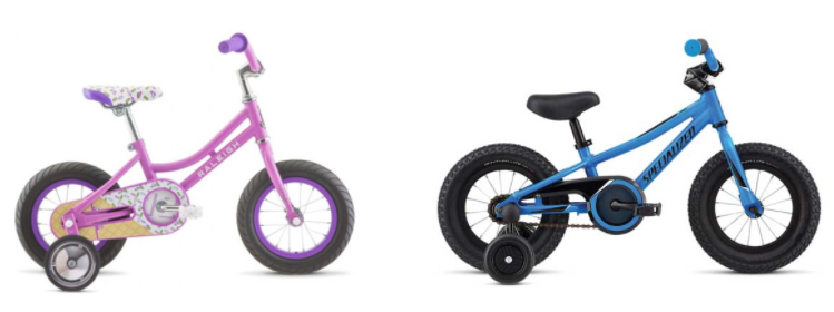 Picture of Raleigh jazzi and specialized riprock with training wheels