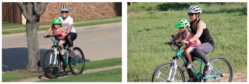 side by side of a mom using a tyke toter and a do little bike seat