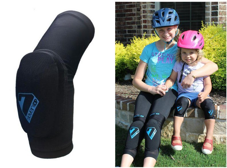 11 year old and 2 year old wearing 7 Protection knee pads