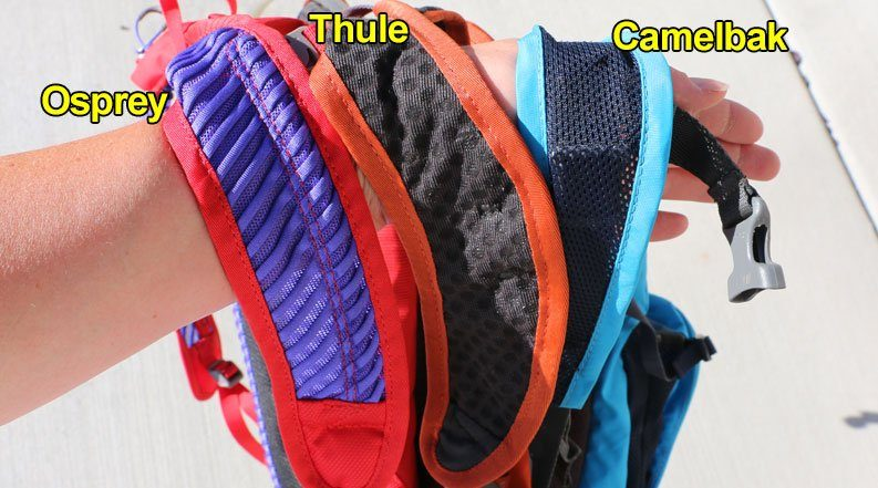 Close up shot of the shoulder straps of the Osprey Moki, Thule UpTake Youth and Camelbak Mini MULE