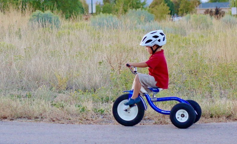 a young child riding a blue tricycle