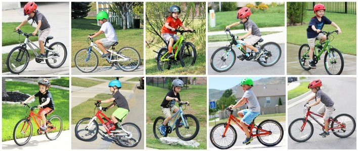 collage of 6 and 7 year olds riding 20 inch bikes