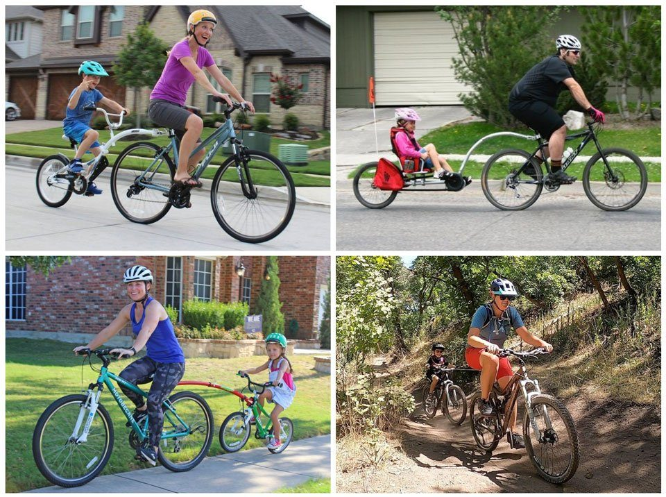 Collage showing four different bike attachments for kids - tag along bike, recumbent trailer cycle, tow bar, and tow rope