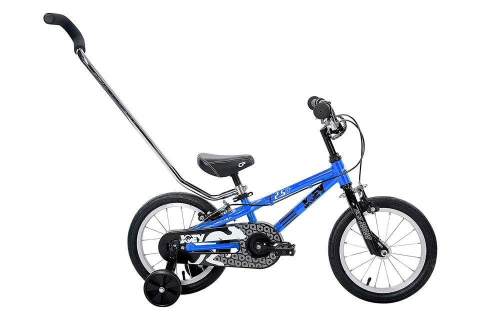 Joey 2.5 14 inch kids bike with training wheels and a push bar