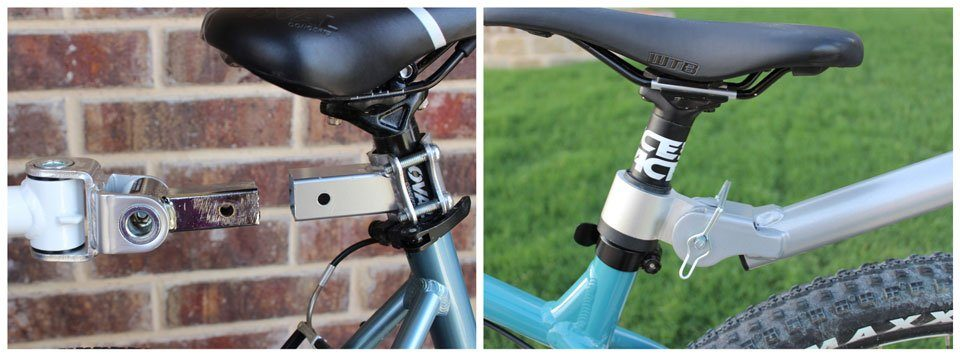Trailer cycle hitches on adult bike seat posts - Weeride Co-Pilot and Weehoo Turbo