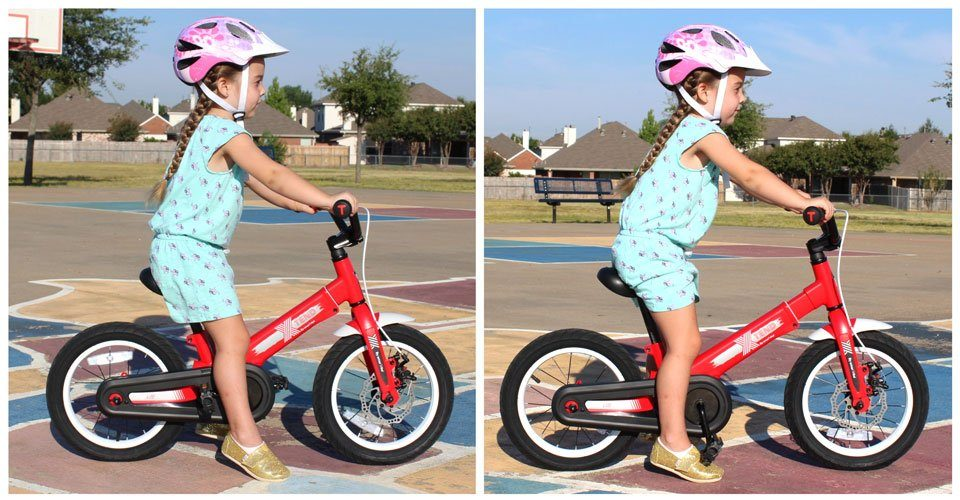 4 year old girl on SmarTrike convertible balance bike. On left she's in pedal bike mode without the frame extended. On the right the frame is extended.