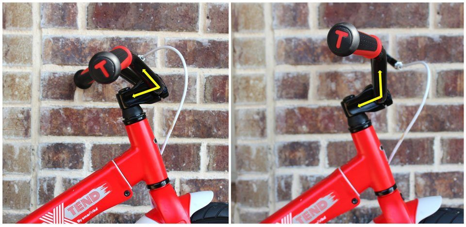 Comparison of SmarTrike's handlebars rotated towards and away from the rider.