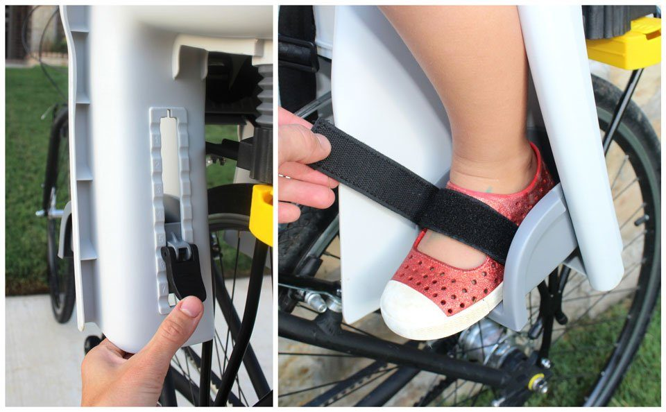 Footrests and velcro foot strap on Topeak BabySeat II child bike seat