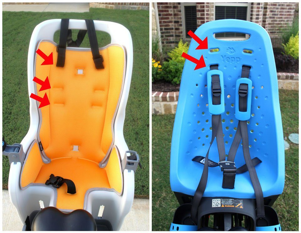 Three shoulder strap height adjustments on Topeak BabySeat II vs only two on Thule Yepp Maxi.