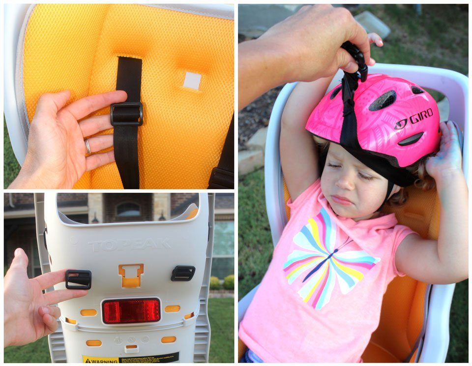 Adjustable harness straps on Topeak BabySeat II. Also, toddler lifting harness over her head and getting it stuck on her helmet.