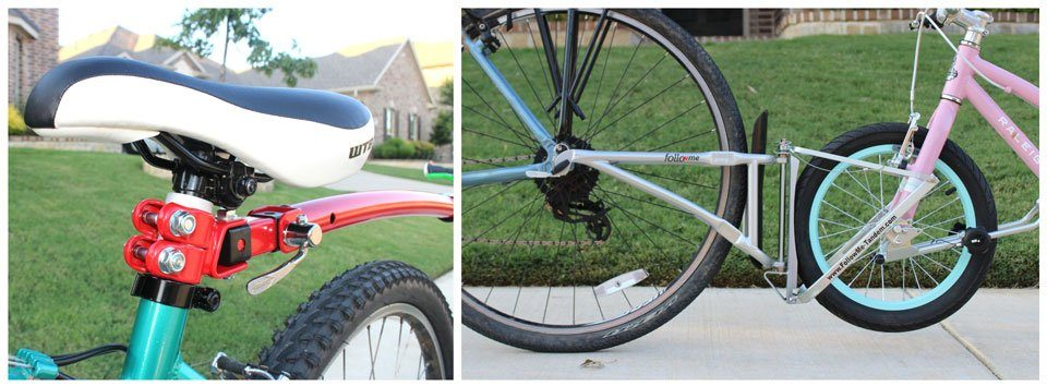 Tow bar attachment point on adult bike. Trail Gator on adult seat post, FollowMe Tandem on axle.