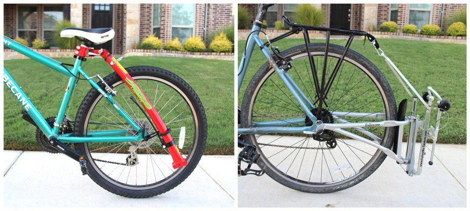 Bike tow bars stored on adult bikes - Trail Gator and FollowMe Tandem