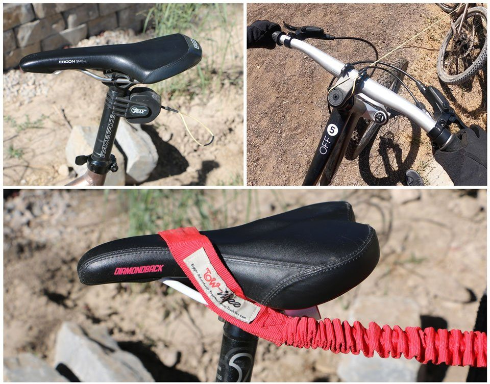 Bike tow ropes attached to the adult bike seat post and the child bike's headset