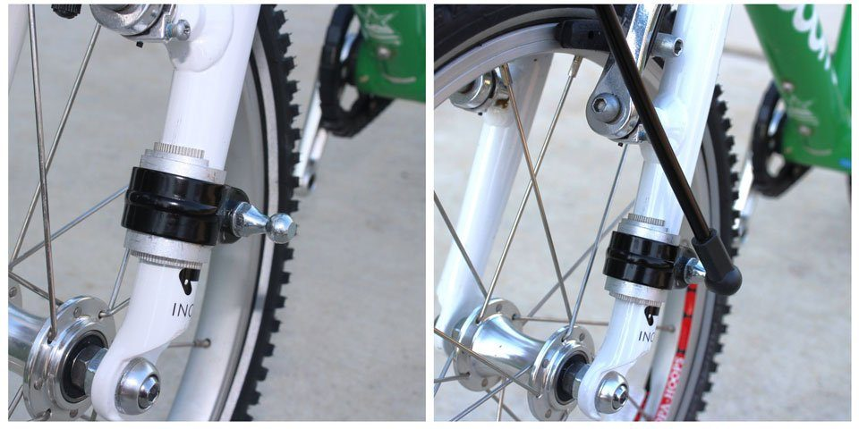 Hitch bolt added to front fork of child bike to attach the stabilizer rod of the Trail Gator tow bar