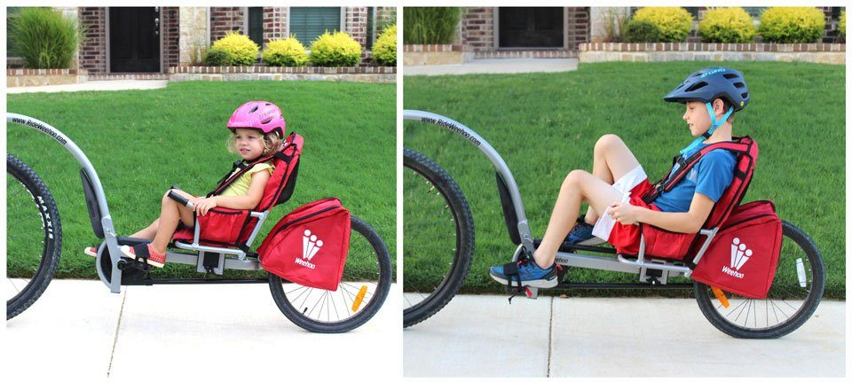 2 year old and 9 year old in Weehoo Turbo recumbent trailer cycle