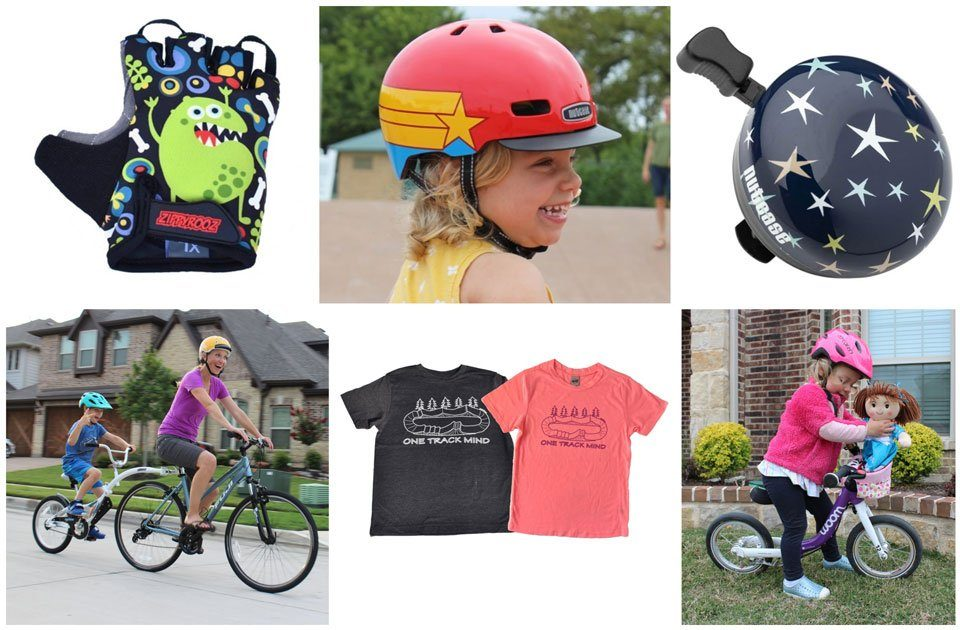 Collage showing various items on our holiday gift guide for kids and parents who love bikes
