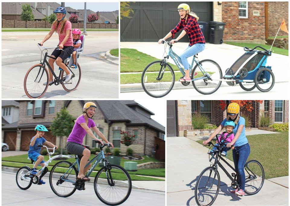 Collage of four different bikes of bike carriers for kids and baby bike carriers. Rear child bike seat, front baby bike seat, bike trailer, and tag along bike