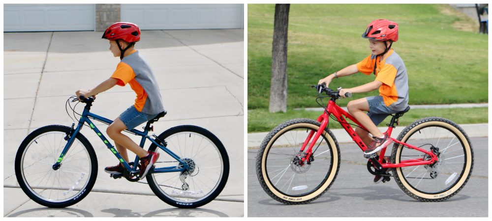 Side by side comparison of 9 year old on Vitus 24 vs Vitus 24 plus kids bikes