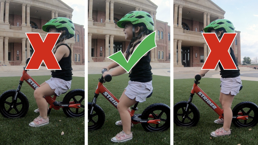 Three side by side images showing the proper what to set a balance bike seat height. The first image is too low and the child is bending the knees too much. The middle image is just right and the child has a slight knee bend. The third image has the seat height set too high and the child's legs are straight.