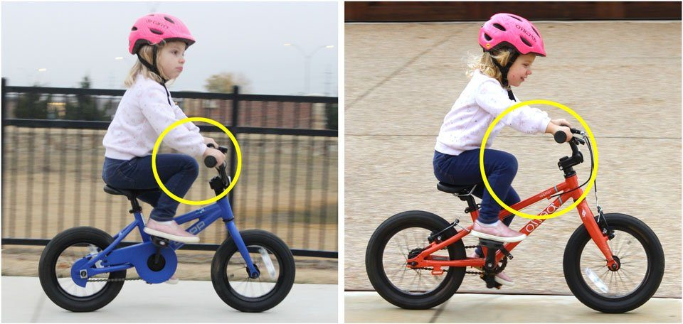 3 year old riding the REI Co-Op Cycles REV 12 inch bike, showing she has no knee room. Compared to the same child riding a nicer 14 inch bike, which has a ton of knee room by comparison.