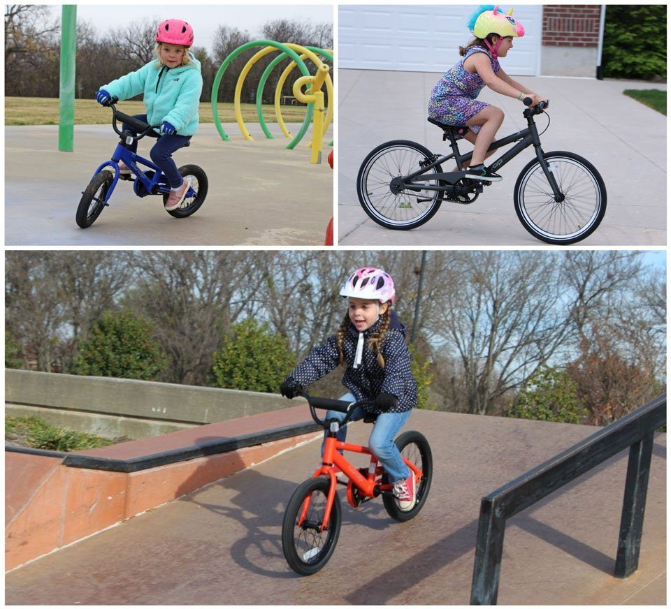 three kids riding REI Co-op cycles REV bikes in sizes 12 inch, 16 inch, and 20 inch