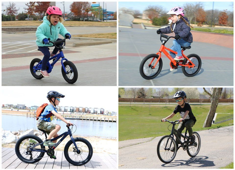 Collage of kids riding REI REV and REV Plus bikes in sizes 12 inch, 16 inch, and 20 inch