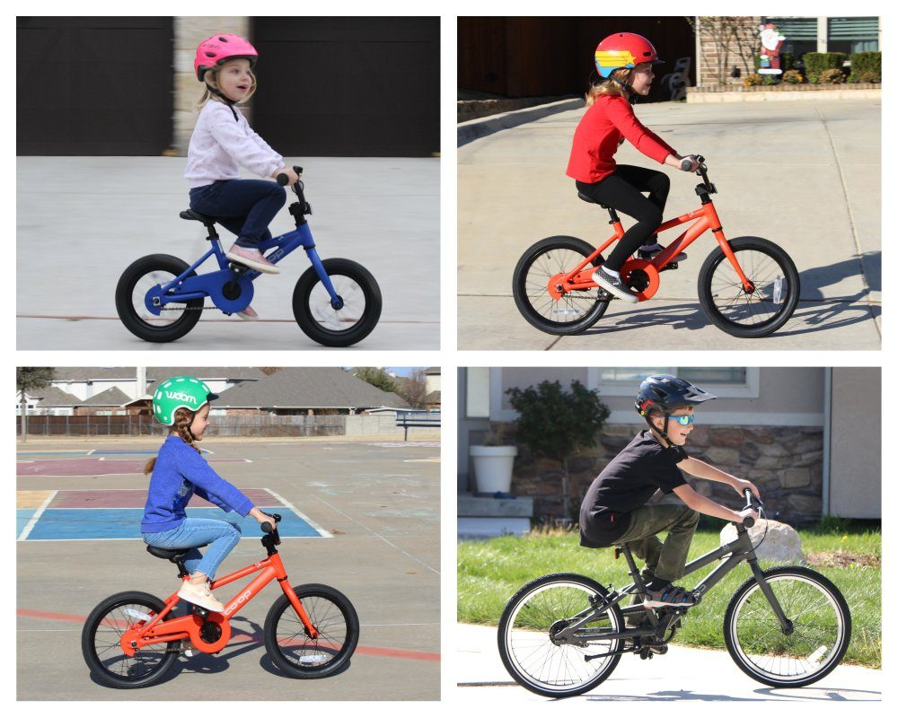 Collage of four different kids riding different sizes of REI Co-Op Cycles REV bikes. They all look awkward on the bikes.
